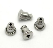 10 Surgical Stainless Steel Bullet Push On Earring Backs Stoppers 5x5 mm  5 Pair