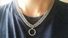 """Stainless Steel Choker Collar O-Ring BDSM Necklace 4 in 1 Persian Weave 12-16"""""""