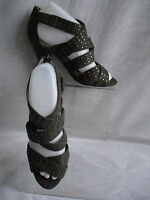 LIMITED COLLECTION WOMENS GREY ZIP FAUX SUEDE PEEP TOE SANDALS SZ:4/37(WHS394)