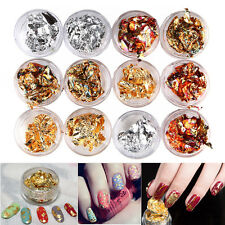 12pcs Nail Art Gold Silver metal foil paper Flake 3D Sticker Decal decoration