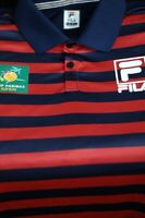 Fila Men's Red Navy BNP Paribas Indian Wells Tennis Polo Shirt XL XLarge