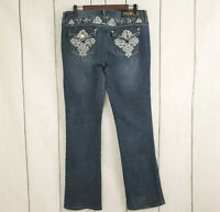 RUE 21 PREMIERE sz 13/14 Women's Medium Wash Boot Cut Embellished Jeans