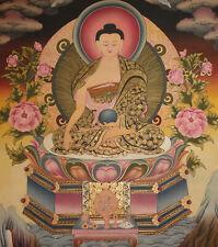 Sehr feines MASTERPIECE Thangka Shakyamuni Buddha aus NEPAL 66x49cm Erdfarben!