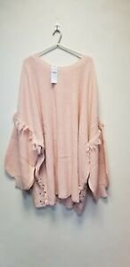 LOVE YOURS LACE SIDE DROP SHOULDER FRILL JUMPER ,PINK ,SIZE34-36, NEW ## (CH)