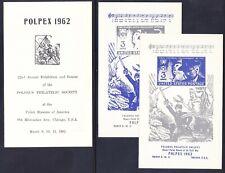Poland POLPEX 1962 MNH Polish Heroes Civil War EXPO Chicago 2 Souvenir Sheets
