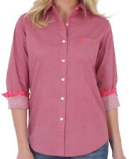 NWT WRANGLER Western George Strait For Her Button Down LGS591M L/S Pink Shirt LG