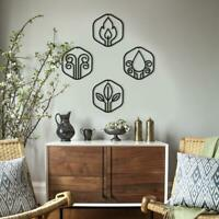Contemporary Metal Wall Art, Basic Elements Metal Wall Decor Set For Livingroom