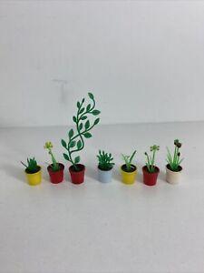 Vintage Lundby Dollhouse Planter Pot with Plants Lot Of 7 Rare Htf