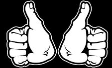 THUMBS UP DECAL STICKER  WHITE 100MM High  CONTOUR CUT LEFT & RIGHT