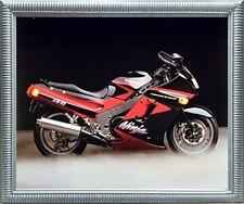 Kawasaki Ninja Zx11 Ron Kimball Motorcycle Wall Decor Silver Framed Picture A...