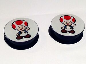 Pair Toad Super Mario Brothers Ear Plugs Flesh Tunnels Taper Stretcher 6-25mm