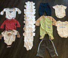 Mixed Lot Of 18 Articles Of Size 3-6 Months Clothing Baby Boy Onesies Pants More