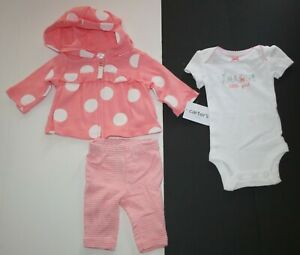New Carter's Preemie Girls 3 Piece Cardigan Hoodie Bodysuit Top Pants Pink Polka