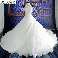 Custom Made White Wedding Dress High Neck Bridal Dresses 2017 Cathedral Train