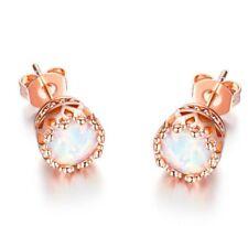 18k Rose Gold Opal Stud Earrings