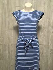 Lauren Ralph Lauren Women's Blue White Striped Dress W/ Belt Cap Sleeve Sz M LRL