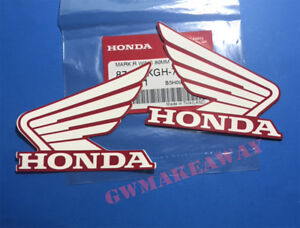 Honda wing Logo Vinyl Decal Gas Tank Car Sticker Motorcycle 80MM White Red Oem