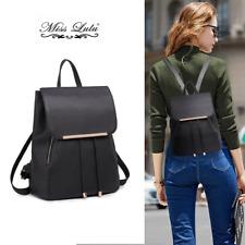 Black PU LeatherTravel Bag Backpack Shoulder School Bag Handbag Girls