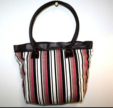 Allegro Pacific Creative Couture Womens Tote Bag Purse Brown Pink Striped
