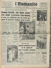 L'Humanité (14 juin 1963) Traité De Gaulle-Adenauer - Peuple espagnol -