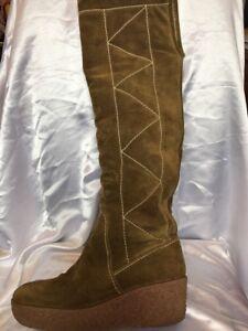 Michael Kors Khaki Suede Knee High Boots Size 7 /41