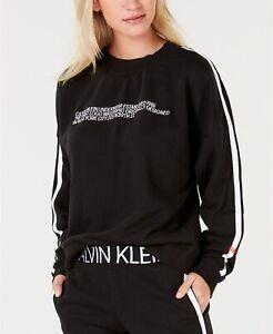 Calvin Klein Women's 1981 Statement Logo Lounge Sweatshirt, Black, Medium M