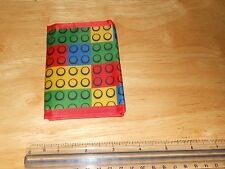 Block Building Brick Design On Tri-Fold Wallet w/Velcro Nylon RED (Not Lego)