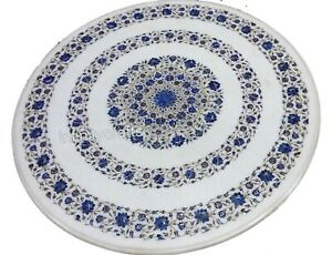48 Inches Marble Dining Table Top Round Hallway Table Top Lapis Lazuli Stones