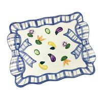 Vtg FITZ AND FLOYD Blue White Bow And Garden Veggies Small Serving Tray Plate