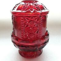 VTG Indiana Stars Bars Flash Glass Ruby Red Fairy Lamp Candle Holder SEE NOTES