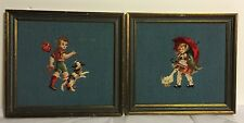 Pictures Needlepoint Set of 2 Vintage Hummel Style Boy and Girl Framed
