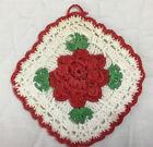 Vintage Hand Crocheted Pot Holder, Flower Design, White, Red, Green
