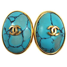 CHANEL CC Light Blue Stone Earrings Gold Clip-On 97 P Vintage Authentic #Z433 M