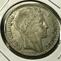 1933 FRANCE SILVER 20 FRANCS NICE CROWN COIN