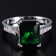 Size 8/Q Ladys 10KT White Gold Filled Emerald Band Wedding Ring Gift