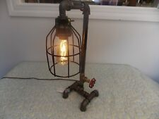 Black Industrial Steampunk Pipe Lamp Cast Iron Desk Bed Table Light Steampunk