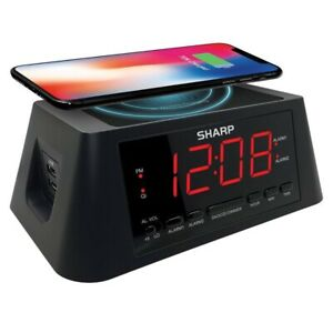 SHARP 2/2 Amp USB Charge Alarm Clock with QI Wireless Charger | Black | 🆕