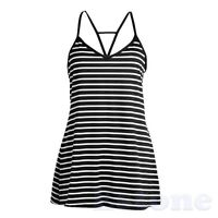 Lady Sexy Summer Fashion Cool Black And White Stripes Loose V-neck Halter Dress