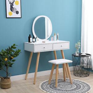 Modern Dressing Table Makeup Desk w/Drawer,Mirror&Stool Oak/White Wooden Bedroom