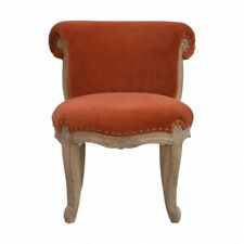 French Solid Wood Rust Velvet Studded Armless Occaional Chair Cabriole Legs