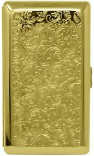 Gold Victorian Print (Full Pack 120s) Metal-Plated Cigarette Case & Stash Box