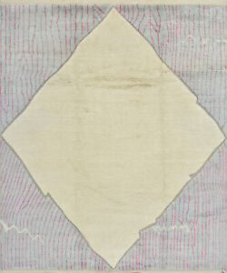 Moroccan Beni Ourain Rug Hi-Lo Pile, 9'x10', Ivory, Hand-Knotted Wool Pile