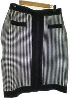 Women's Knit Mini Skirt Winter Fall Checker Black White Middle Zip Size L