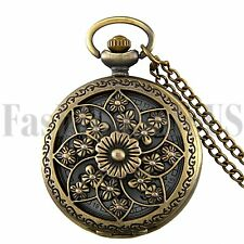 Antique Hollow Camellia Digital Quartz Pocket Watch Necklace Chain Pendant Gift