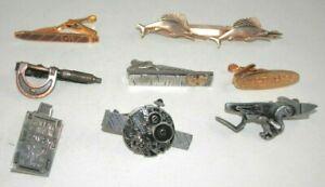 Lot of 8 Novelty Tie Clasps - Bars Cigar Dolphin Caliper Flintlock Watch Ticket