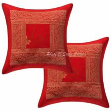 """Indian Brocade Cushion Cover Hand Embroidered Pillow Case Cover Pair Throw 16"""""""