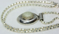 """Vintage Mexican 6 CT Rainbow Moonstone Pendant 925 Silver Necklace 18"""" Chain 3MM"""