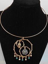 Betsey Johnson Goldtone SKULLS & ROSES Pave' Skull Flower Wire Collar Necklace