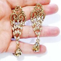 Rhinestone Chandelier Drop Earrings Bridal Prom Pageant Jewelry 3 in Topaz