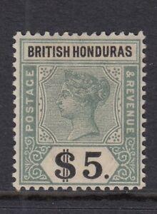 BRITISH HONDURAS SG65 1899 $5 GREEN & BLACK  MTD MINT